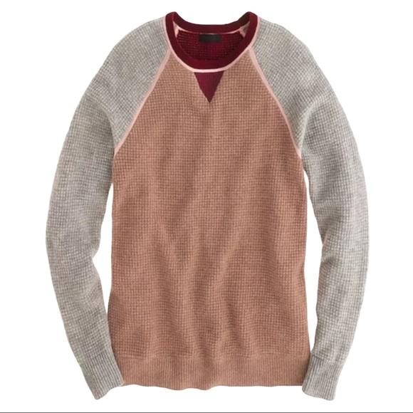 J. Crew Cashmere Colorblock Waffle Knit Sweater